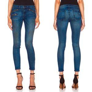 Rag & Bone Skinny Ankle Zip Oil Stain Jeans